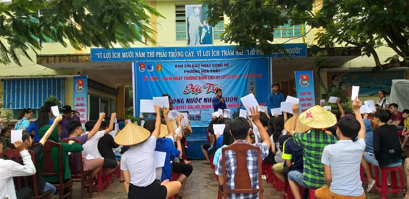 """Hội trại hè năm 2018 với chủ đề """"Uống nước nhớ nguồn"""" của Đoàn phường Hòa Phát"""
