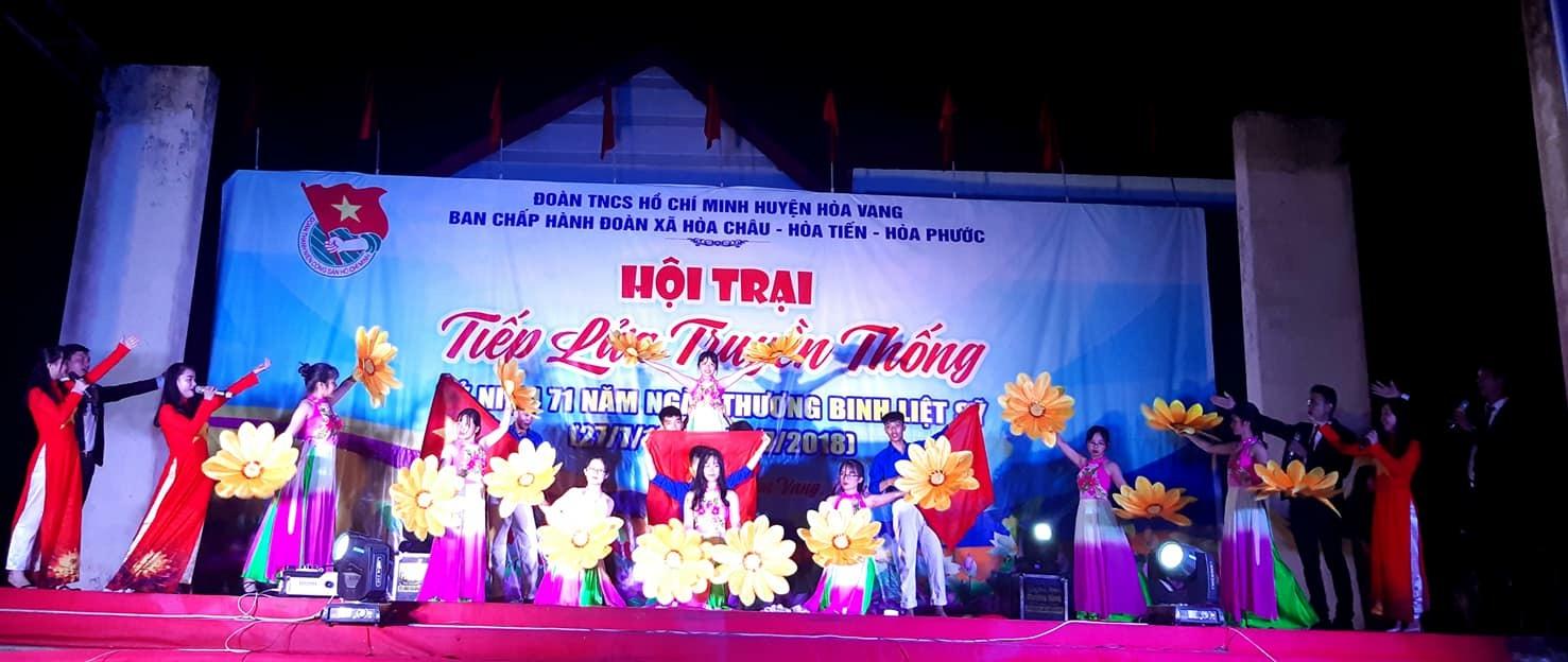 """Hội trại """"Tiếp lửa truyền thống"""" cho ĐVTN cụm 3 xã Hoà Châu – Hoà Tiến – Hoà Phước."""